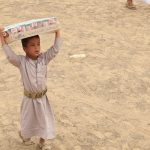 One of the displaced children benefiting from the food basket distribution project